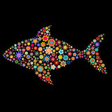 Fish shape. Vector illustration of fish shape made up a lot of  multicolored small flowers on the black background Royalty Free Stock Images