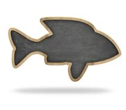 Fish shape blackboard. Fish shape black blackboard isolated on white Royalty Free Stock Photography