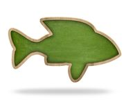 Fish shape blackboard. Fish shape green blackboard isolated on white Royalty Free Stock Photography