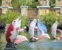 Fish shape fountain at public park Royalty Free Stock Photo