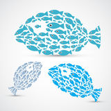Fish Shaped Abstract Fish. Set Illustration Stock Image