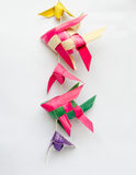 Fish-shaped ornaments hand made. Of palm leaf in Thailand Stock Photos