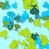Fish shapes pattern with drop shadow. Illustration Stock Images