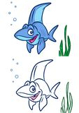Fish Shark cartoon Illustrations. Isolated image animal character Stock Photo