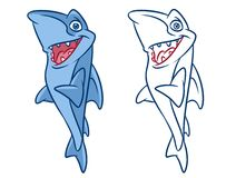 Fish Shark cartoon Illustrations. Isolated image animal character Stock Photography