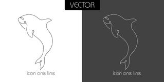 Fish, shark, dilfin, orca icon on white and black. Background one line for the logo, sign, symbol Royalty Free Stock Photos