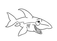 Fish shark illustration coloring pages Stock Image