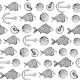 Fish and shell linear pattern. Vector hand drawn linear pattern with fish and shell Royalty Free Stock Photography