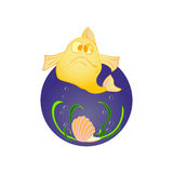 Fish and shell with pearl Royalty Free Stock Photos