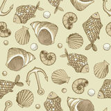Fish and shell vector seamless pattern. Vector seamless pattern with fish, shell and anchor Stock Photo
