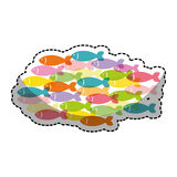 Fish shoal icon. Over white background. colorful design. vector illustration Royalty Free Stock Photography