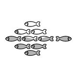 Fish shoal icon. Over white background. vector illustration Royalty Free Stock Photos