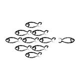 Fish shoal icon. Over white background. vector illustration Royalty Free Stock Photo