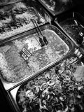 Fish shop. Artistic look in black and white. Royalty Free Stock Photography
