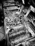 Fish shop. Artistic look in black and white. Stock Photos
