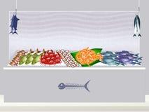 Fish shop. Funny illustration of fish shop Stock Photo