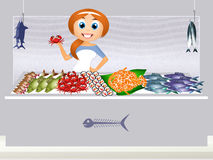 Fish shop. Funny illustration of fish shop Royalty Free Stock Image