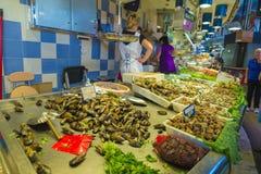 Fish shop in La Boqueria, Barcelona Royalty Free Stock Images
