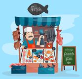 Fish shop vector kiosk street retro shop store market with freshness seafood in fridge traditional asian meal and. Fisherman dealer business person meat seller royalty free illustration