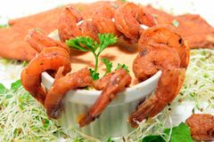 Fish, Shrimp on a bed bean sprouts Royalty Free Stock Photography
