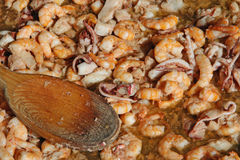 Fish shrimp and octopus in a pot to cook Stock Photos