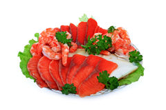 Fish and shrimps. Are a fine dish to a celebratory table Royalty Free Stock Images
