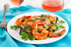 Fish with shrimps and parsley Stock Photo