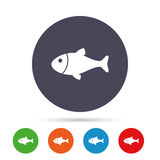 Fish sign icon. Fishing symbol. Round colourful buttons with flat icons. Vector Royalty Free Stock Photography