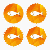 Fish sign icon. Fishing symbol. Triangular low poly buttons with flat icon. Vector Stock Photos