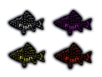 A fish silhouette in black. With inscriptions inside Royalty Free Stock Photography