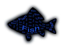 A fish silhouette in black. With inscriptions inside Royalty Free Stock Photo