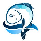 Fish silhouette and wave vector illustration
