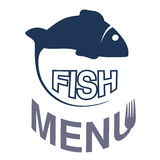 Fish silhouette for menu design. Circular seafood symbols  on white background for menu restaurant. Stock Photos
