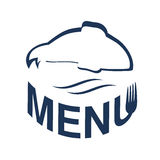 Fish silhouette with waves for menu design. Blue seafood symbols  on white background for menu restaurant. Royalty Free Stock Image