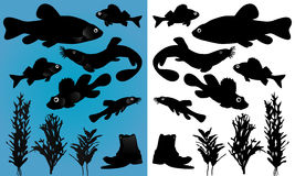 Fish silhouettes Royalty Free Stock Photos
