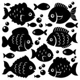 Fish silhouettes theme set 1 Royalty Free Stock Images