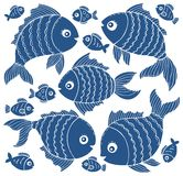 Fish silhouettes theme set 3. Eps10 vector illustration Royalty Free Stock Image