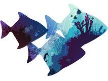 Fish. Silhouettes of tropical fish. within the seabed with coral and marine life. white background,  illustration Stock Photography