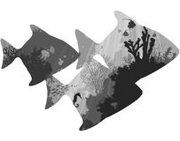 Fish. Silhouettes of tropical fish. within the seabed with coral and marine life. white background, illustration, black and white vector illustration
