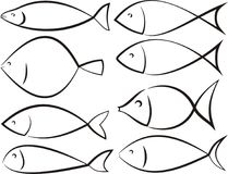 Fish silhouettes - vector outlines set Royalty Free Stock Images
