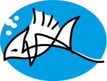 Fish simple lines. Vector illustration.nFish with blue background.n Royalty Free Stock Photography