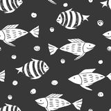 Fish simple sketh drawn by hand seamless pattern in cartoon style. For wallpapers, web background, textile, wrapping. Fish simple sketh drawn by hand seamless Stock Image