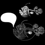 Fish skeleton. Fish bone on a blank background, vector illustration Royalty Free Stock Image