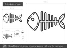 Fish skeleton line icon. Fish skeleton vector line icon isolated on white background. Fish skeleton line icon for infographic, website or app. Scalable icon Royalty Free Stock Photo