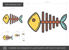 Fish skeleton line icon. Fish skeleton vector line icon isolated on white background. Fish skeleton line icon for infographic, website or app. Scalable icon Stock Image