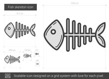 Fish skeleton line icon. Fish skeleton vector line icon isolated on white background. Fish skeleton line icon for infographic, website or app. Scalable icon Royalty Free Stock Photography