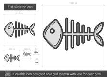 Fish skeleton line icon. Fish skeleton vector line icon isolated on white background. Fish skeleton line icon for infographic, website or app. Scalable icon Stock Photography
