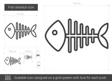 Fish skeleton line icon. Fish skeleton vector line icon isolated on white background. Fish skeleton line icon for infographic, website or app. Scalable icon Royalty Free Stock Images