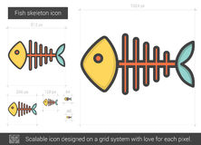 Fish skeleton line icon. Royalty Free Stock Images