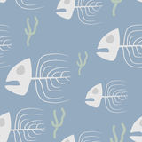 Fish skeleton seamless pattern. Vector background sad, doomed fi. Sh and algae Stock Photography
